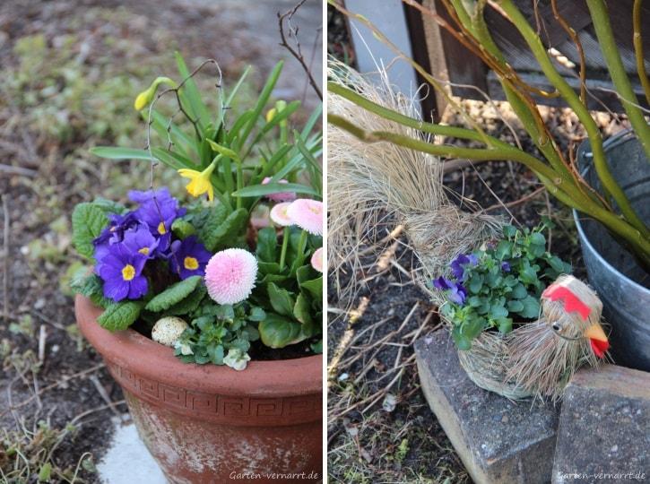 Frühlingsblüher und Weidenstrauß zu Ostern