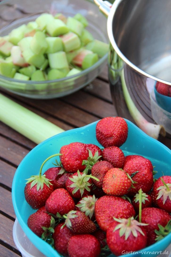 Zutaten für Erdbeer-Rhabarber-Marmelade